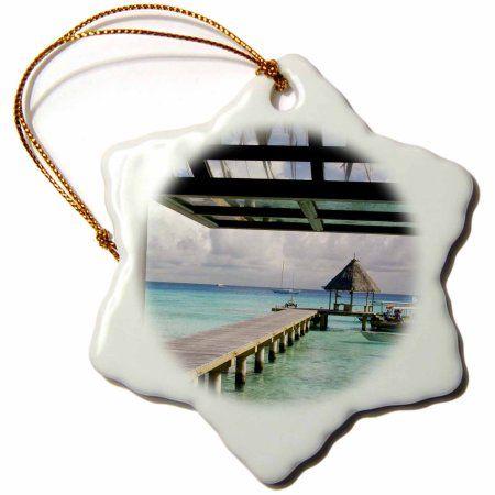 3dRose French Polynesia, Rangiroa. Kia Ora Hotel - OC13 BJA0211 - Jaynes Gallery, Snowflake Ornament, Porcelain, 3-inch