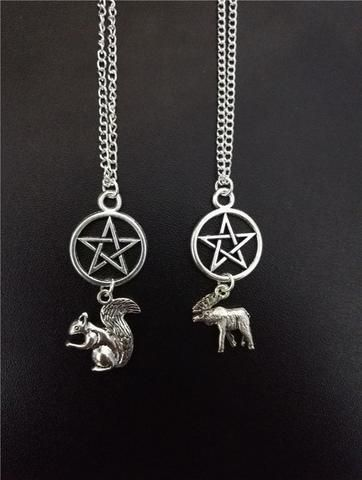 Silver Plated Moose/Squirrel Pentagram Necklace - Necklace - Supernatural-Sickness