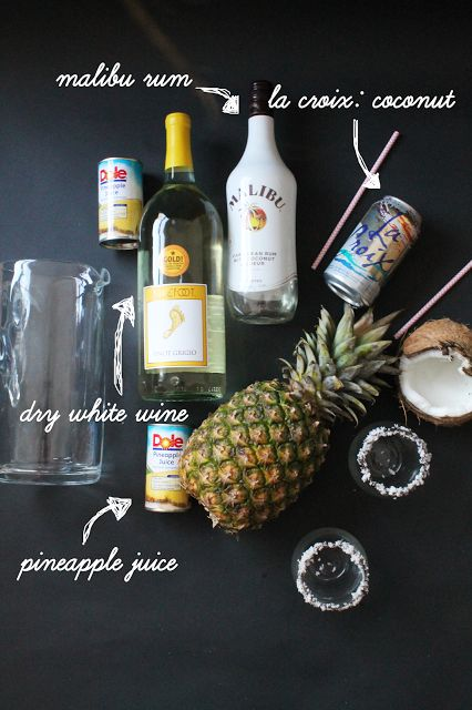 Pineapple and coconut come together to make a delicious sangria. Made with Malibu rum, barefoot wine, and lacroix coconut water and pineapple juice. Pineapple Coconut Sangria