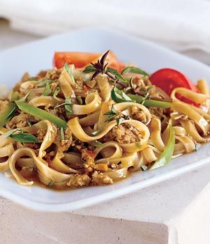 Drunken noodles.  There isn't a drop of alcohol in this dish — the name refers to how much you'll want to drink to combat the heat.