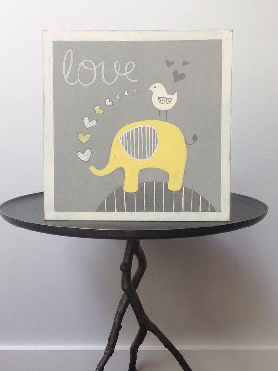 Elephant nursery decor, Yellow and gray nursery, gray and yellow, nursery decor, painted sign, baby boy nursery, wall art, baby boy on Etsy, $40.00