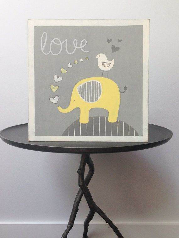 Elephant nursery decor Yellow and gray nursery by SweetBananasArt