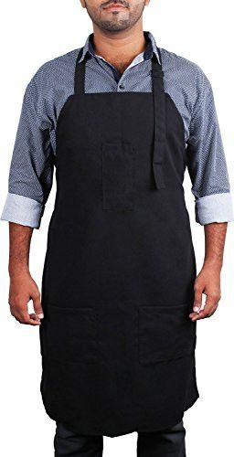 Adjustable Bib Apron with 3 Pockets - Commercial Resturant and Home Kitchen Apron - Adjustable Neck Strap - Extra Long Ties - Strong Black - by Utopia Kitchen
