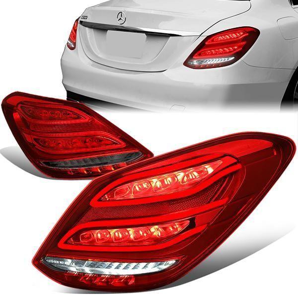 15 18 Mercedes Benz W205 C200 C250 C300 C63 Amg Sedan Led Rear Brake Tail Lights Red Smoked Tail Light Rear Brakes Red Smoke