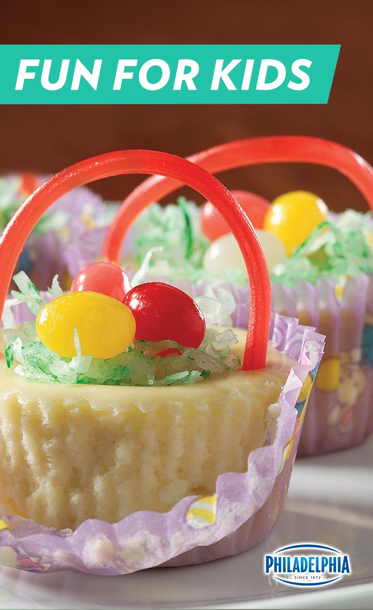 These tiny cheesecake Easter baskets are a perfect dessert for tiny guests. For some extra fun, let guests garnish them with licorice and jelly beans.