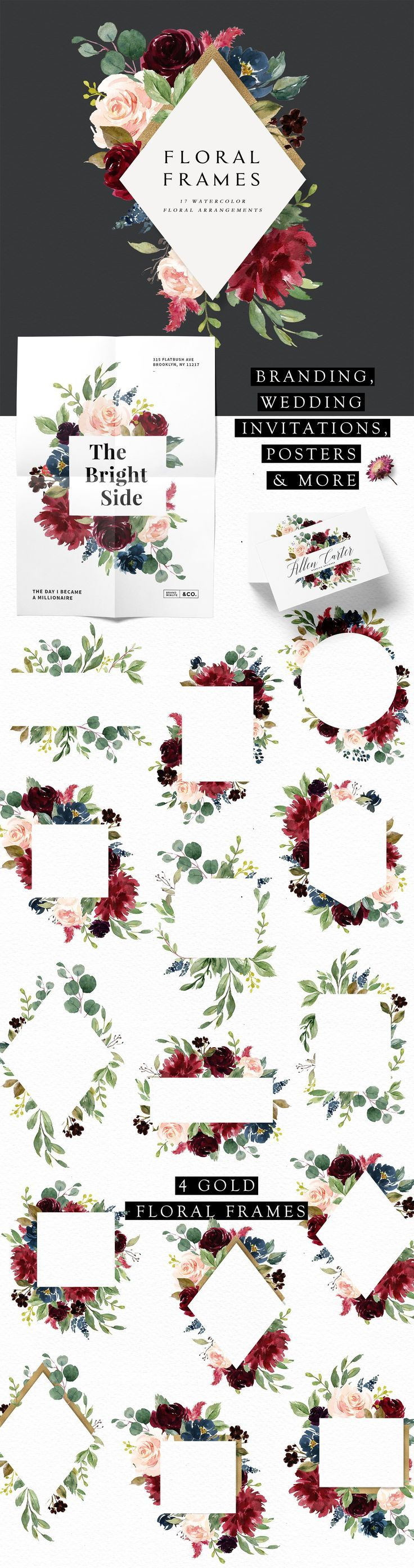 Burgundy&Navy Floral Graphic Set by Graphic Box on Creative Market #creativemark… – GRAPHIC DESIGN