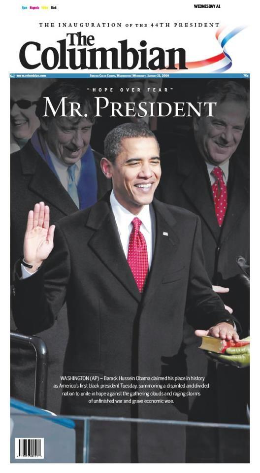 Jan. 20, 2009: Barack Obama becomes America's first black president.