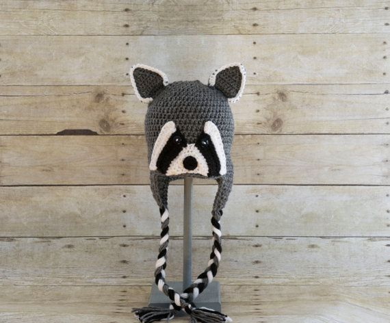 Raccoon Hat  Animal Hat  Woodland Animal  Hats by CinsKnitsnThings