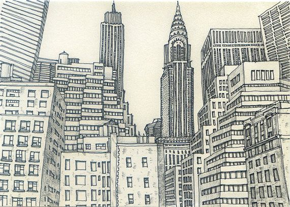 New York City Sketch 3 by sketchmodern on Etsy