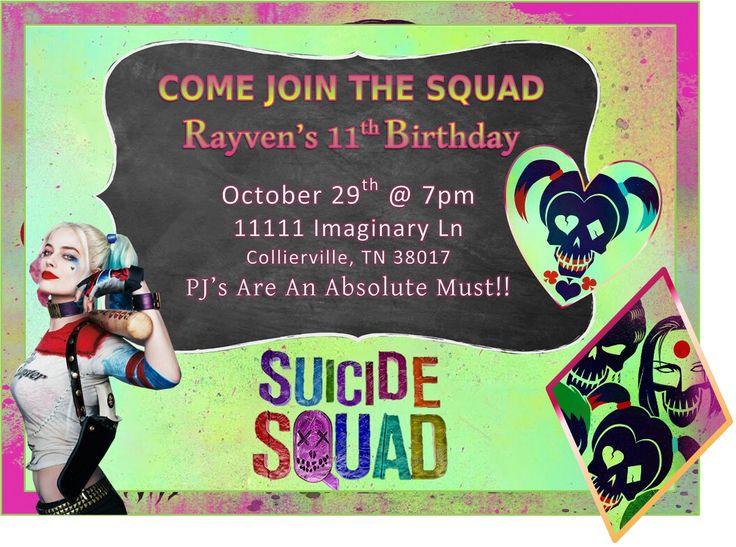 Invitations Suicide Squad Birthday Party Pinterest