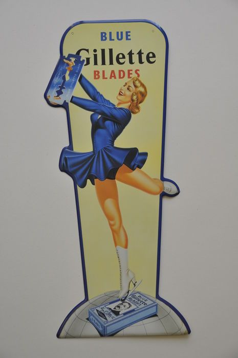 Advertising sign - BLUE GILLETTE BLADES - late 20th century