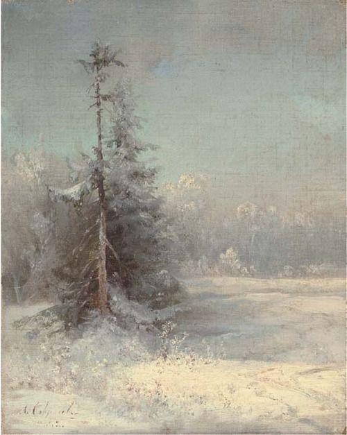 Aleksei Kondrat'evich Savrasov (Russian, 1830-1897), Winter landscape. Oil on canvas, 24.8 x 19.7 cm.