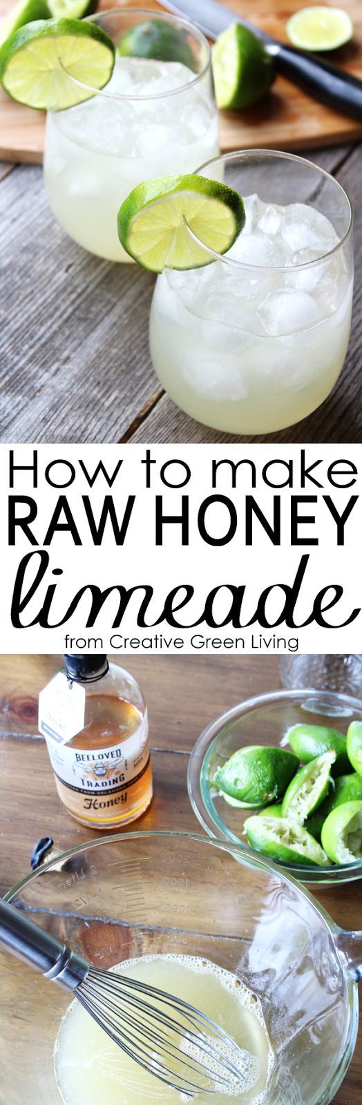 I love this homemade fresh limeade recipe made with healthy raw honey instead of refined sugar. You could dress it up with mint or sparkling water to make a fancier limeade drink, too!  (brought to you by BeeLoved Trading)