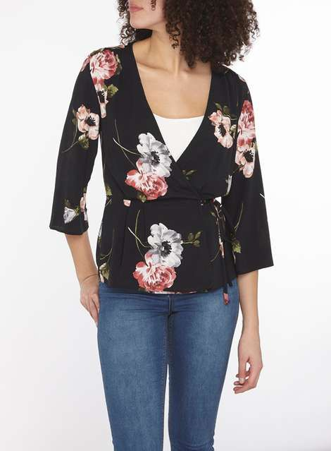 **Tall Floral Bloom Print Wrap Top - Tops & T-Shirts - Clothing - Dorothy Perkins