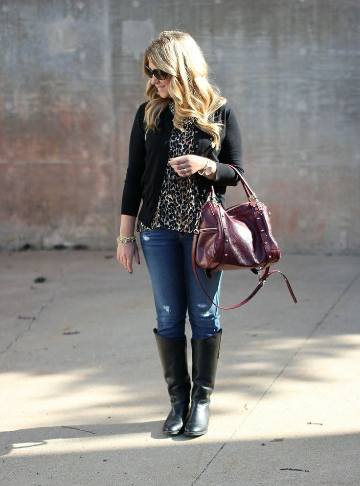 @LOFT leopard top and distressed jeans, Sam Edelman Penny boots, Rebecca Minkoff Cupid...click through to see more!