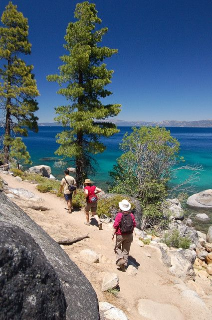 We've hiked this great trail too - the Rubicon Trail on Lake Tahoe's shoreline...Lake Tahoe is one of our favorite places in the summer, as well as the winter for skiing. But nothing beats this lake in the summer. (photo credit www.celebratebig.com)