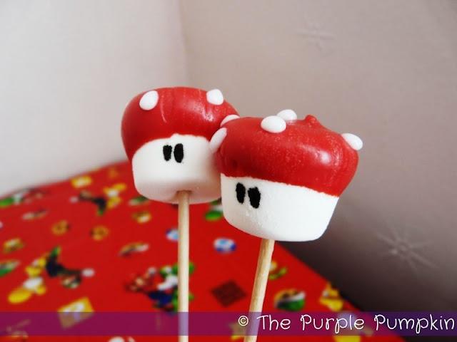 ~Mario Mushroom Marshmallow Pops for a Nintendo Party!~