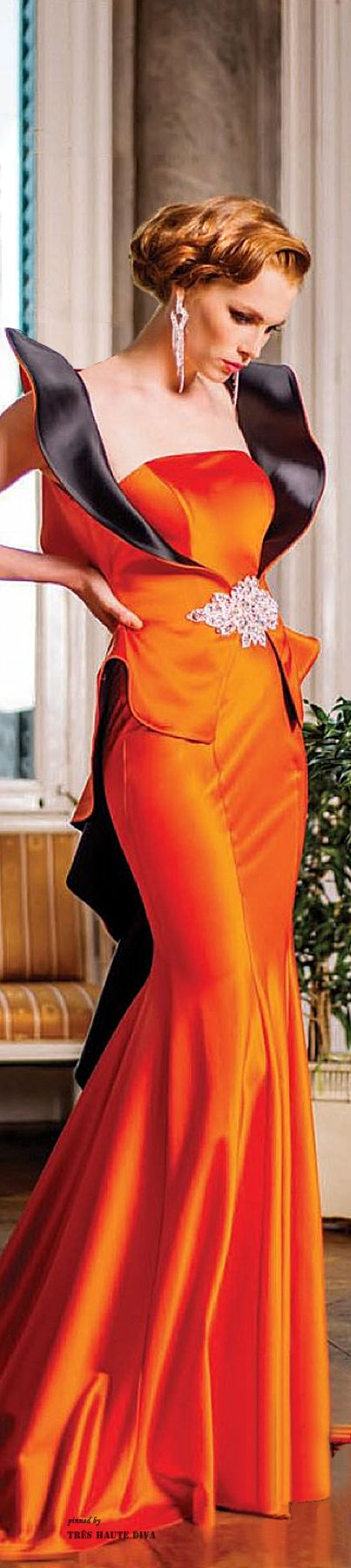 John Paul Ataker Orange and Black Evening Gown ~ CE♥