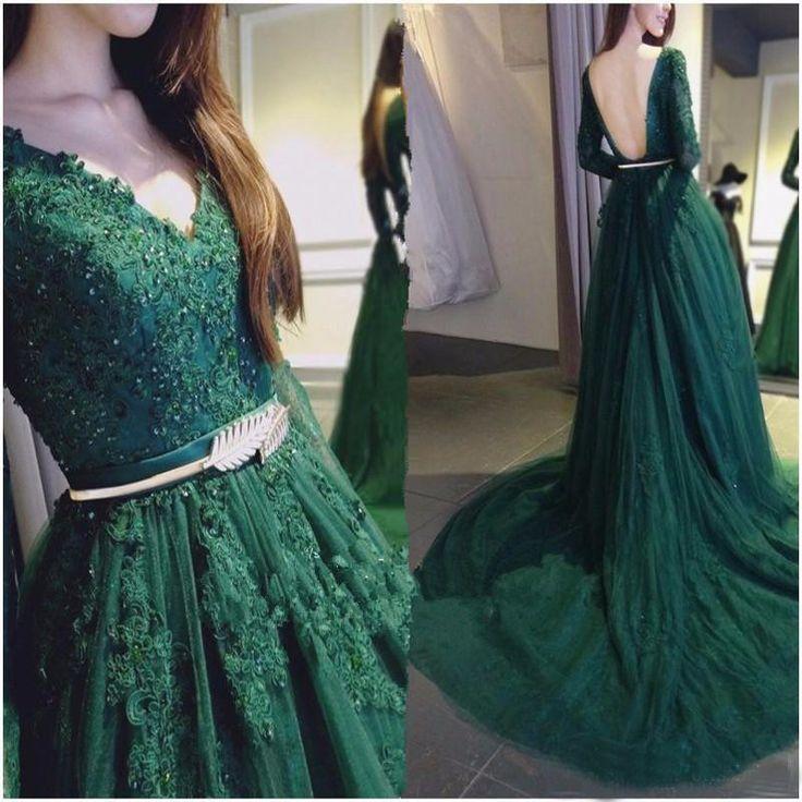 Старинные темно-зеленые с длинным рукавом вечернее платье 2016 аппликации V шеи спинки вечерние платья вечерние платья блестки халат де вечер