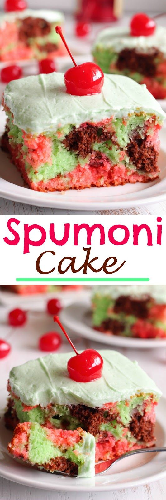 Spumoni Cake - Chocolate, Cherry and Pistachio Cake topped with creamy buttercream and maraschino cherries.