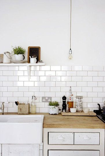 subway tile, open shelving, apron sink
