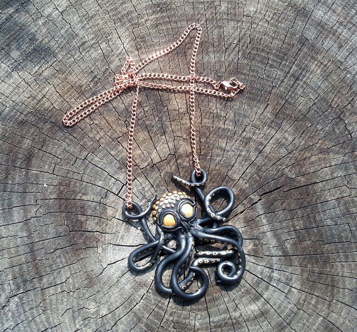 Octopus necklace inspired by one I found online.  Made from polymer and acrylic paint.