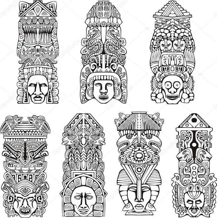 Letöltés - Absztrakt mezoamerikai azték totem lengyelek. szett-fekete-fehér vektor illusztrációk — Stock Illusztráció #16294615