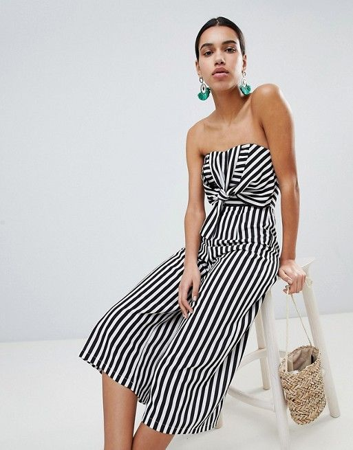 72be12066ca0 Boohoo Twist Bow Front Culotte Jumpsuit