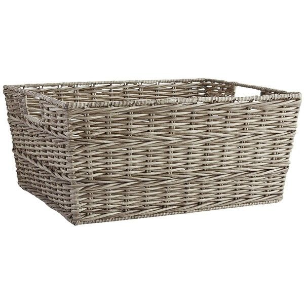 Pier 1 Imports Collin Wicker Large Shelf Storage Basket ($25) ❤ liked on Polyvore featuring home, home decor, small item storage, grey, gray baskets, gray wicker basket, grey wicker baskets, braided baskets and grey wicker storage baskets