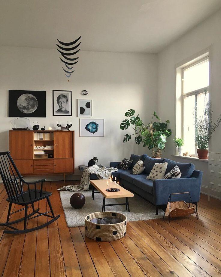 Jenny Jennygilmore88 On Pinterest Living Room Decor Blue Sofa Mid Century Modern Living Room Blue Living Room Decor