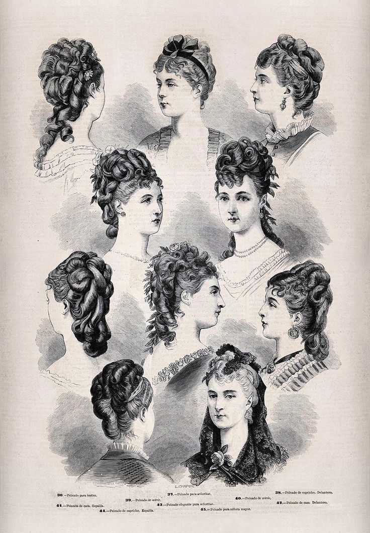 1879. La moda elegante ilustrada. Peinados para señoras y señoritas.