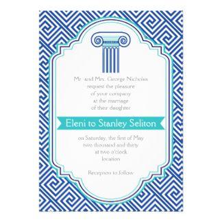 Clé grecque et aqua, mariage Grec de colonne bleue Carton D'invitation 12,7 Cm X 17,78 Cm