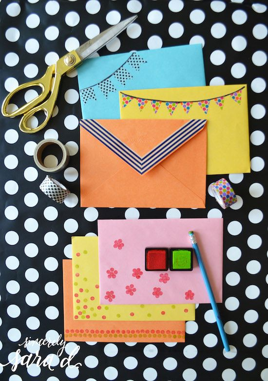 Decorate envelopes using washi tape, a pencil eraser and an ink pad! #SendSmiles #ad