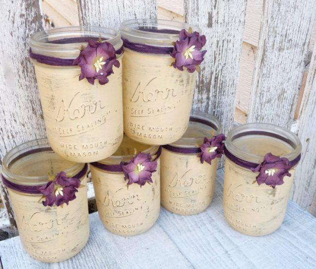 einweckgläser dekorieren rustikal idee pastell beige blumen lila