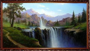 В лесу у водопада - Водопады <- Картины маслом <- Интерьер <- VIP - Каталог | Универсальный интернет-магазин подарков и сувениров