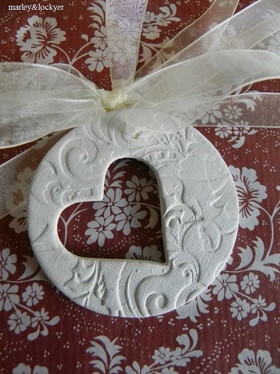 Elegance Heart Cut Out clay tag by marleyandlockyer on Etsy ~ cornstarch & baking soda clay