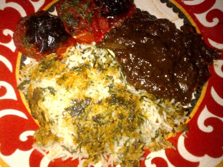 Fesenjan & Sabzi Polow (Persian Pomegranate Walnut Stew & Herb Rice) - Mayabug's Recipes