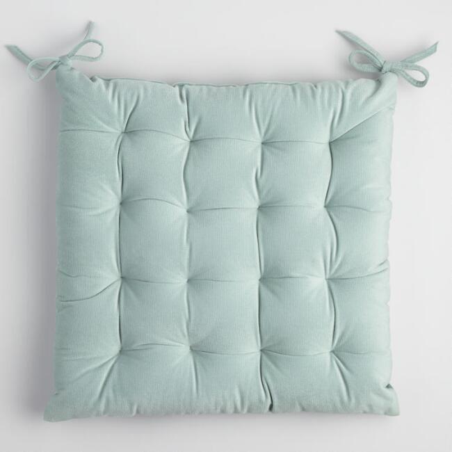 For Wooden Rocking Chair - Ocean Blue Velvet Chair Cushion - v1