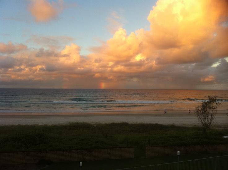 Sunset with rainbow in Tugun, Gold Coast