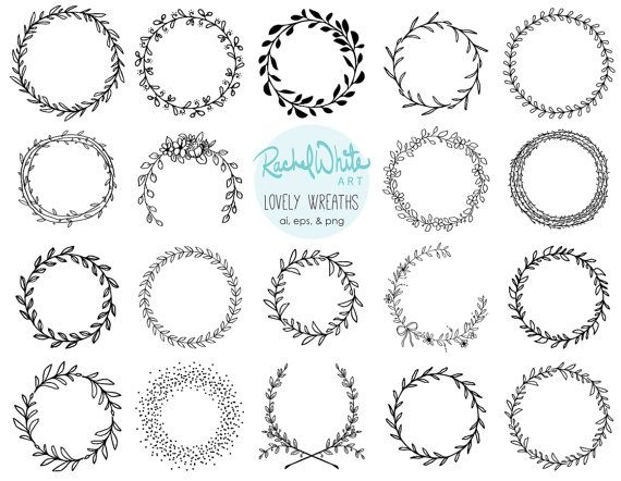 Lovely Wreaths Clip Art Set  AI EPS and PNG  19 by rachelwhitetoo