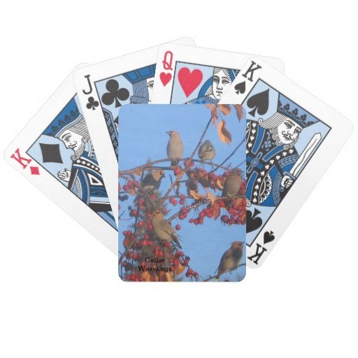 Cedar Waxwings Playing Cards #gift #birds #playingcards