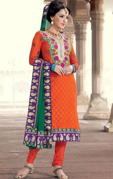 Indian Orange Churidar Kameez Set INHSPBEN808 - www.indianwardrobe.com