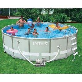 Intex Ultra-Metal-Frame Pool-Set 488x122 +mit Chlorinator Pumpenkombination Art. Nr. 54470GS  Pool Set beinhaltet Leiter, ohne sitzfläche, Bodenplane, Pool Abdeckplane , Skimmer, Reinigungsset  Inklusive Krystal Clear Salzwater System (4542 L) pro Stunde Chlorinator Pumpenkombination (220-240 Volt)+ Ein Filtereinsatz