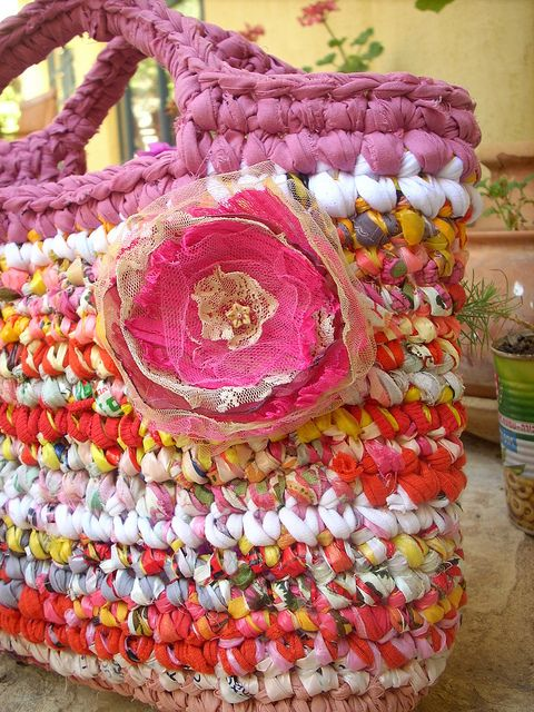 scrap fabric crochet bag