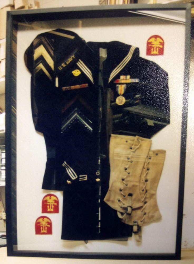 ww2 navy military uniform shadow box framing