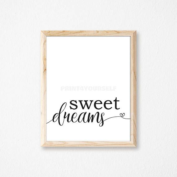 Sweet Dreams Print. Nursery Print. Printable Art. Digital Wall