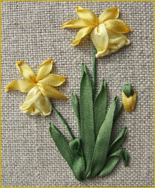 Ribbon daffodils done by Lorna Bateman