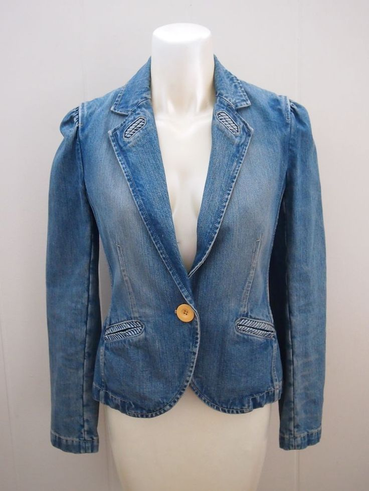 MARC JACOBS Medium Wash Distressed Denim Single Button Blazer Jean Jacket 6 S #MarcbyMarcJacobs #JeanJacket