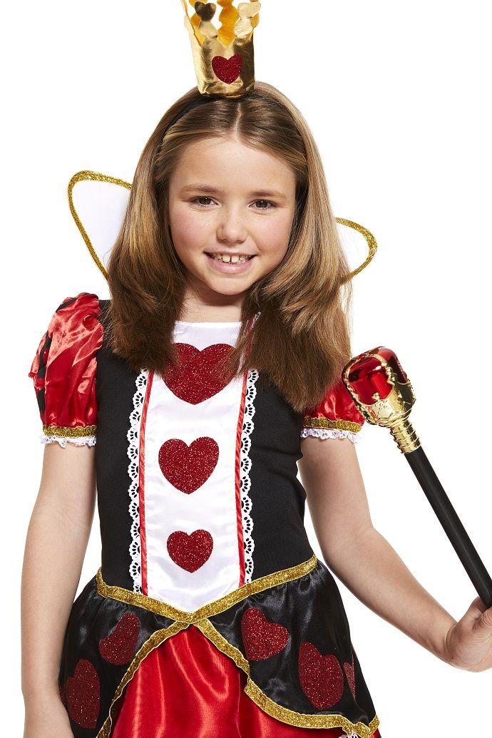 Tween Queen Of Hearts Girls Costume Wonderland Teens Accessory Set Fancy Dress