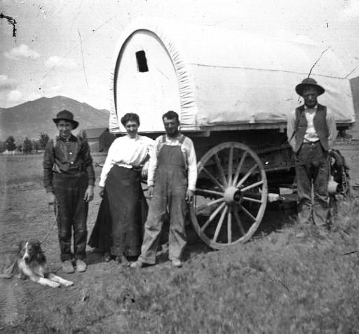Four People, Dog, And Sheep Wagon, Utah